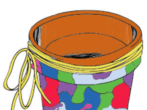 Magazine Mosaic Garden Pot. KinderArt.com