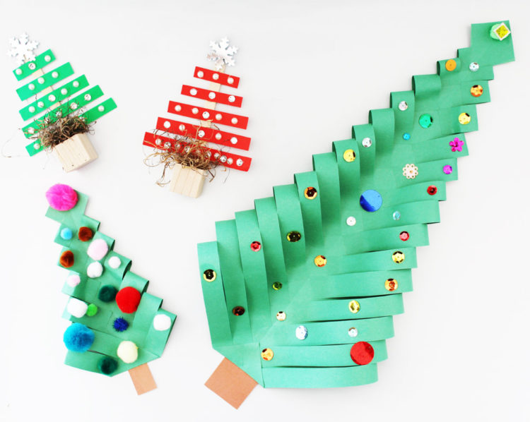 Cute Christmas tree crafts. KinderArt.com