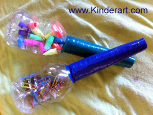 Make maracas using recycled materials.