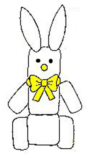 Marshmallow bunny craft. KinderArt.com