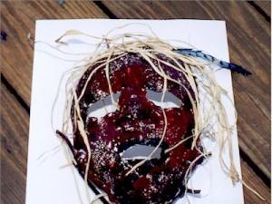 Plaster face mask.