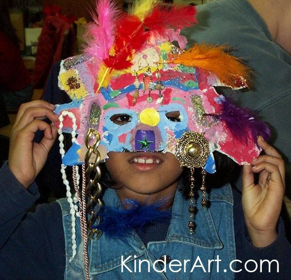 Papier paper mache masks lesson plan multicultural art for Paper mache mash
