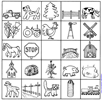 Auto Color Library >> Country Travel Match Up Game - Car Bingo Printable Page - KinderArt