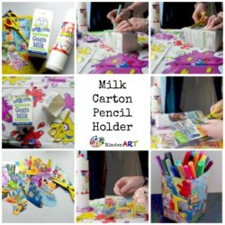 Making a milk carton pencil holder.