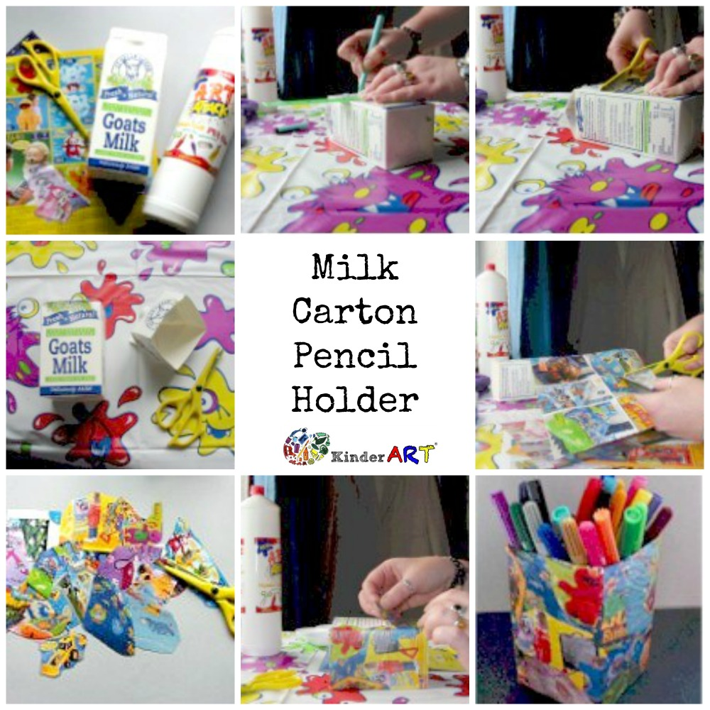 Making a milk carton pencil holder.