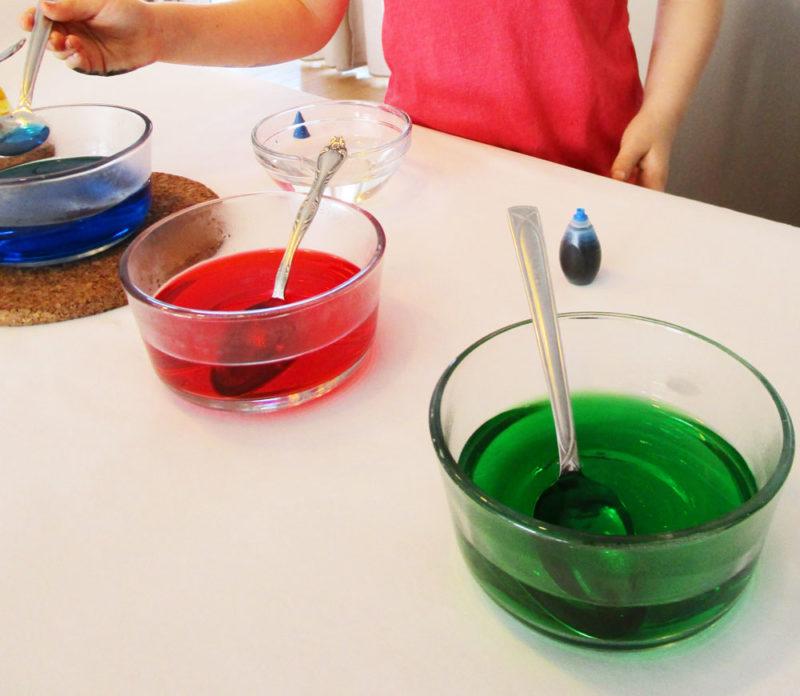 Mix the Easter Egg Dye. KinderArt.com