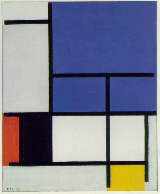 Mondrian Composition with Large Blue Plane, Red, Black, Yellow, and Gray 1921 Oil on canvas Dallas Museum of Art