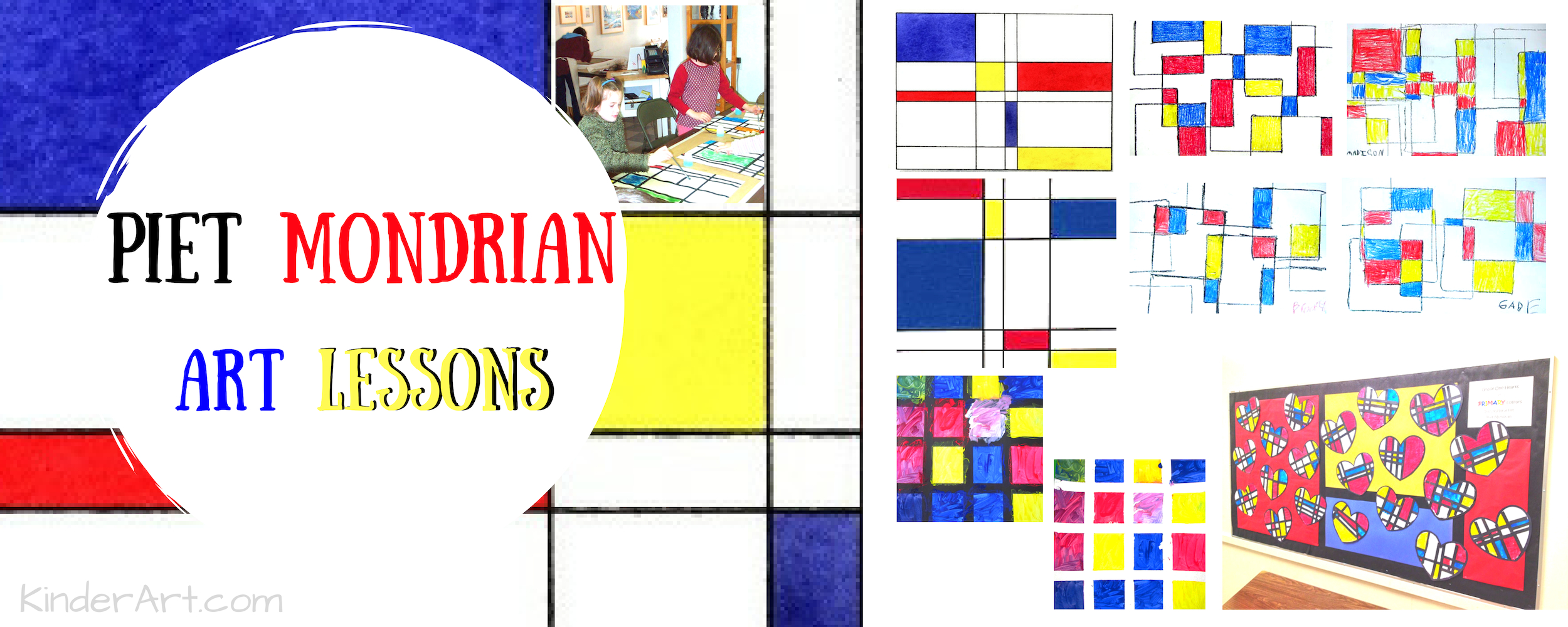 Mondrian art lessons for elementary and middle school students.