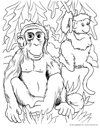 Monkey coloring page. KinderArt.com