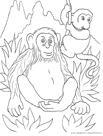Monkey coloring page. KinderArt.com