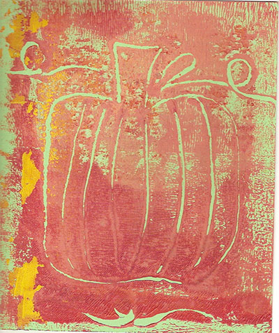 Monoprint pumpkin.