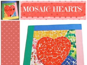 Mosaic Hearts craft using paper. KinderArt.com