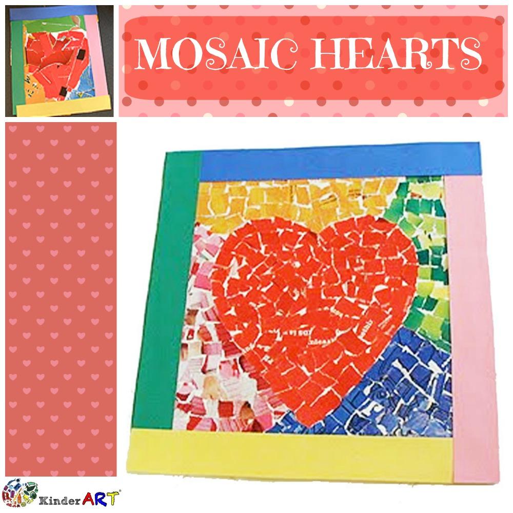 Mosaic Hearts craft using paper. KinderArt.com