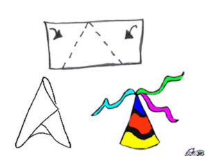 Make a simple party hat. KinderArt.com