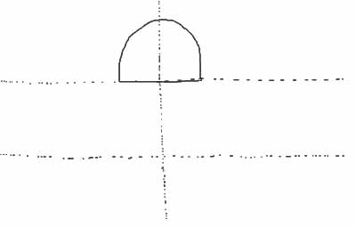 Draw a rainbow (arc) shape in the middle of the top two boxes.