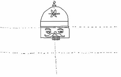 Draw a smaller rectangle under the nose that is halfway inside the face and halfway outside the face.