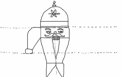 For the arms make a waterfall curve coming out from the left side of the head where the hat and the face meet.