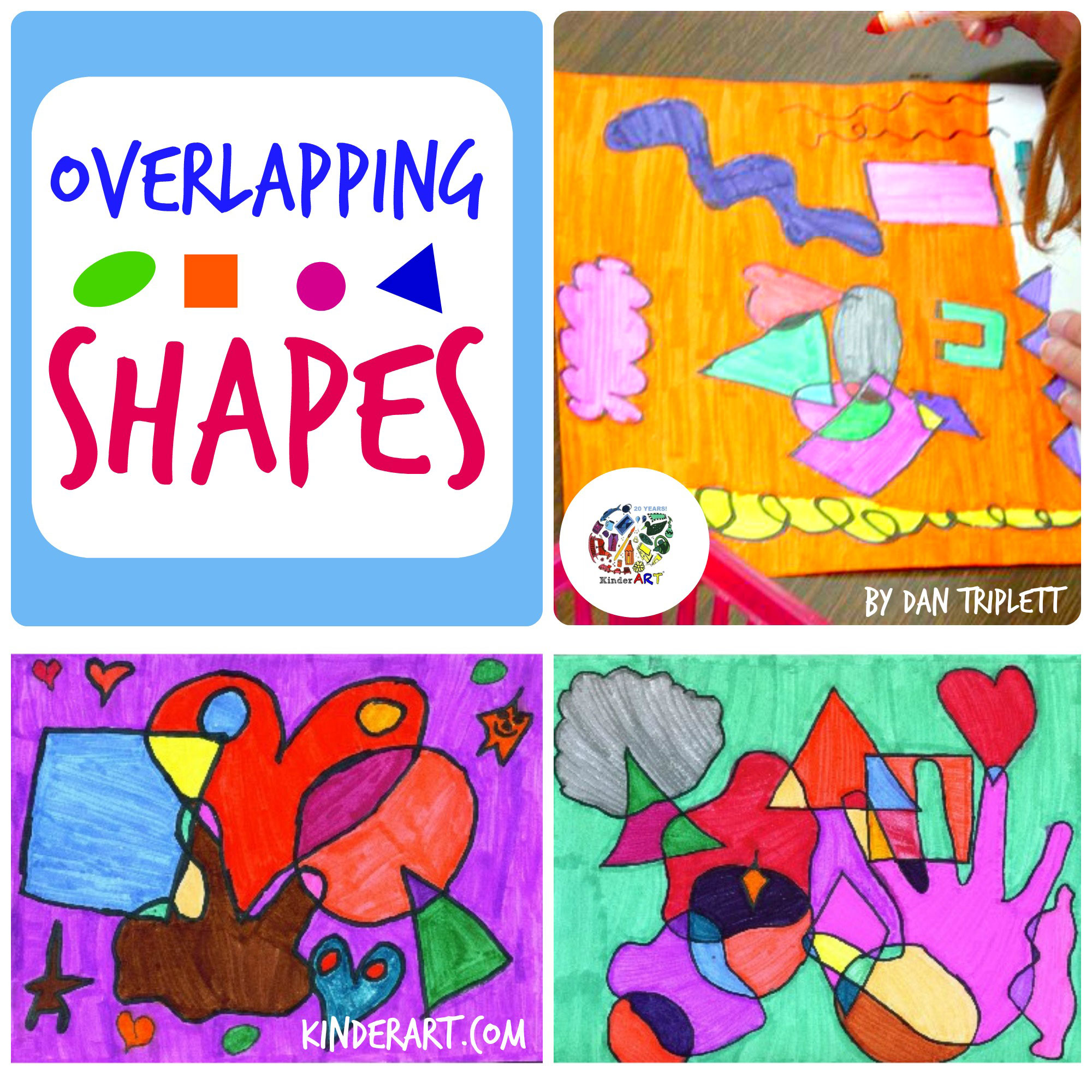 Overlapping Shapes Art Lesson Plan KinderArt.com