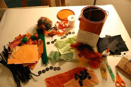 Materials needed to make Halloween creatures from paint cans.