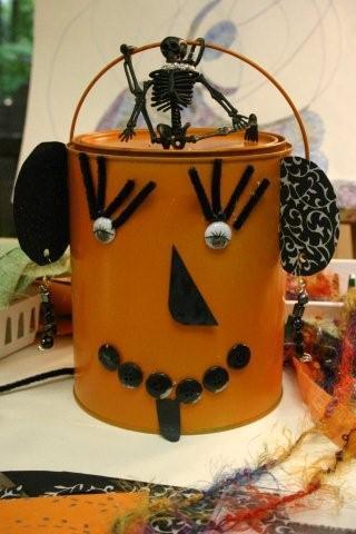 Paint can Halloween Creatures. KinderArt.com