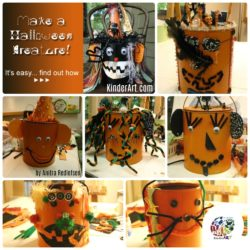 Paint Can Halloween Creatures from KinderArt.com. Art lessons for K-12.