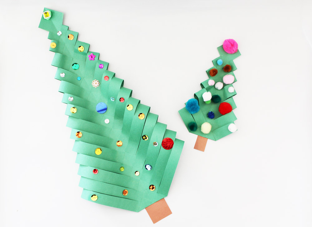 Paper Christmas Trees. KinderArt.com