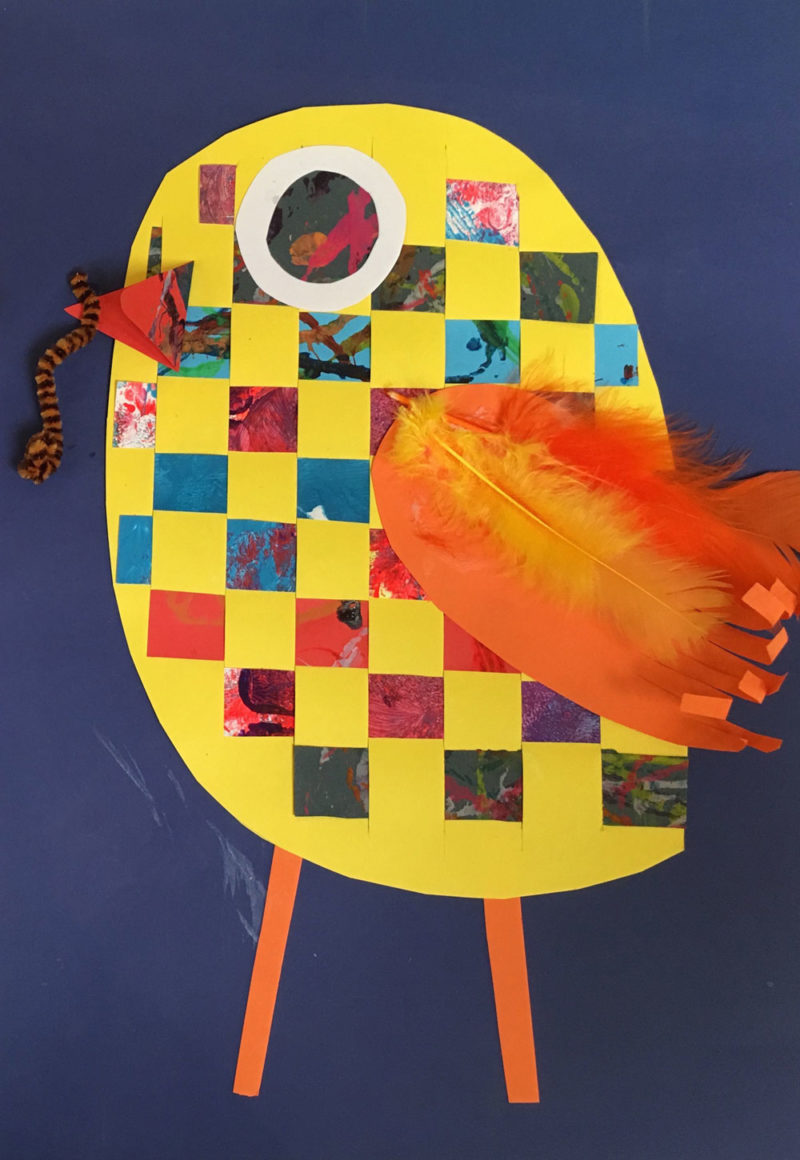 Woven paper animals art lesson. KinderArt.com.