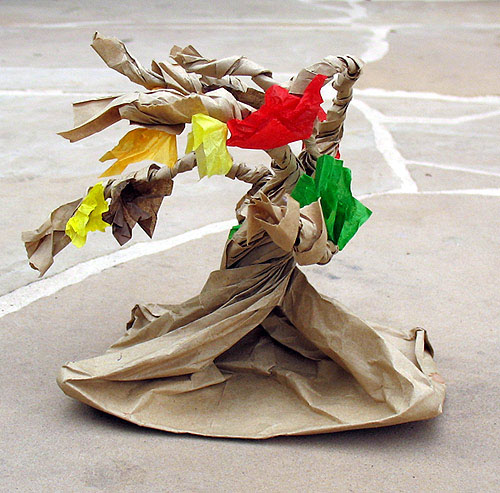 Paper bag tree craft for kids.