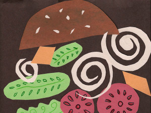 Construction paper hamburger collage