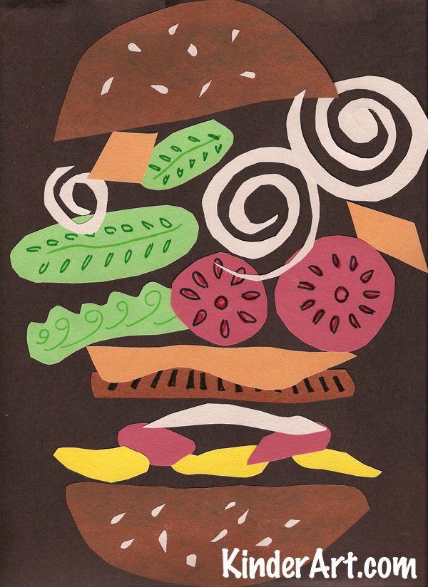 Construction paper hamburger collage