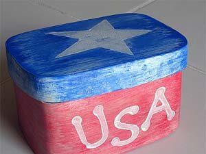 Patriotic Box Craft. KinderArt.com
