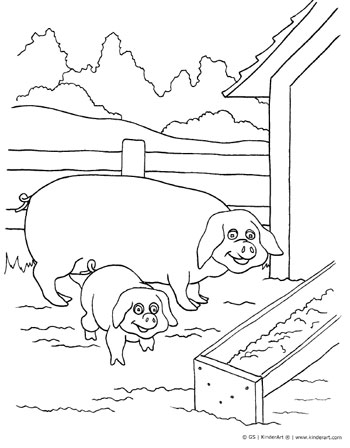 Pig and piglet coloring page.