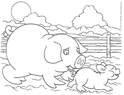 Pig and Piglet Coloring Page - KinderArt