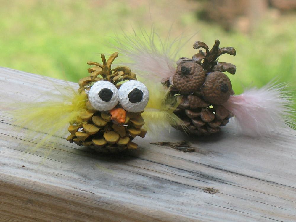 Make pine cone owls.