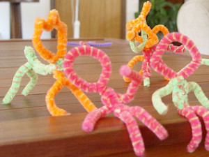 Pipe cleaner people and pets.