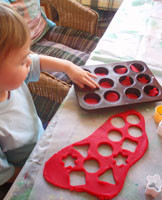 Counting the play dough.