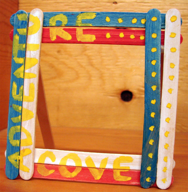 Craft stick picture frame.
