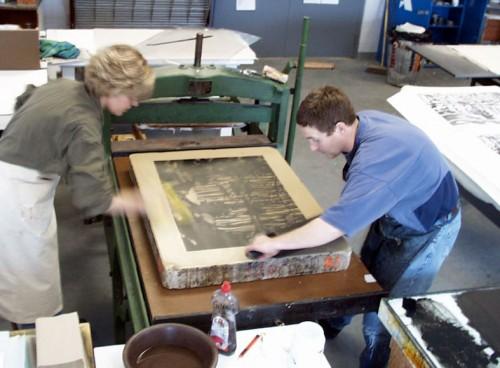 Pulling a litho print.