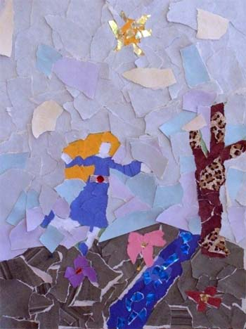 Torn paper pictures showing the human form.