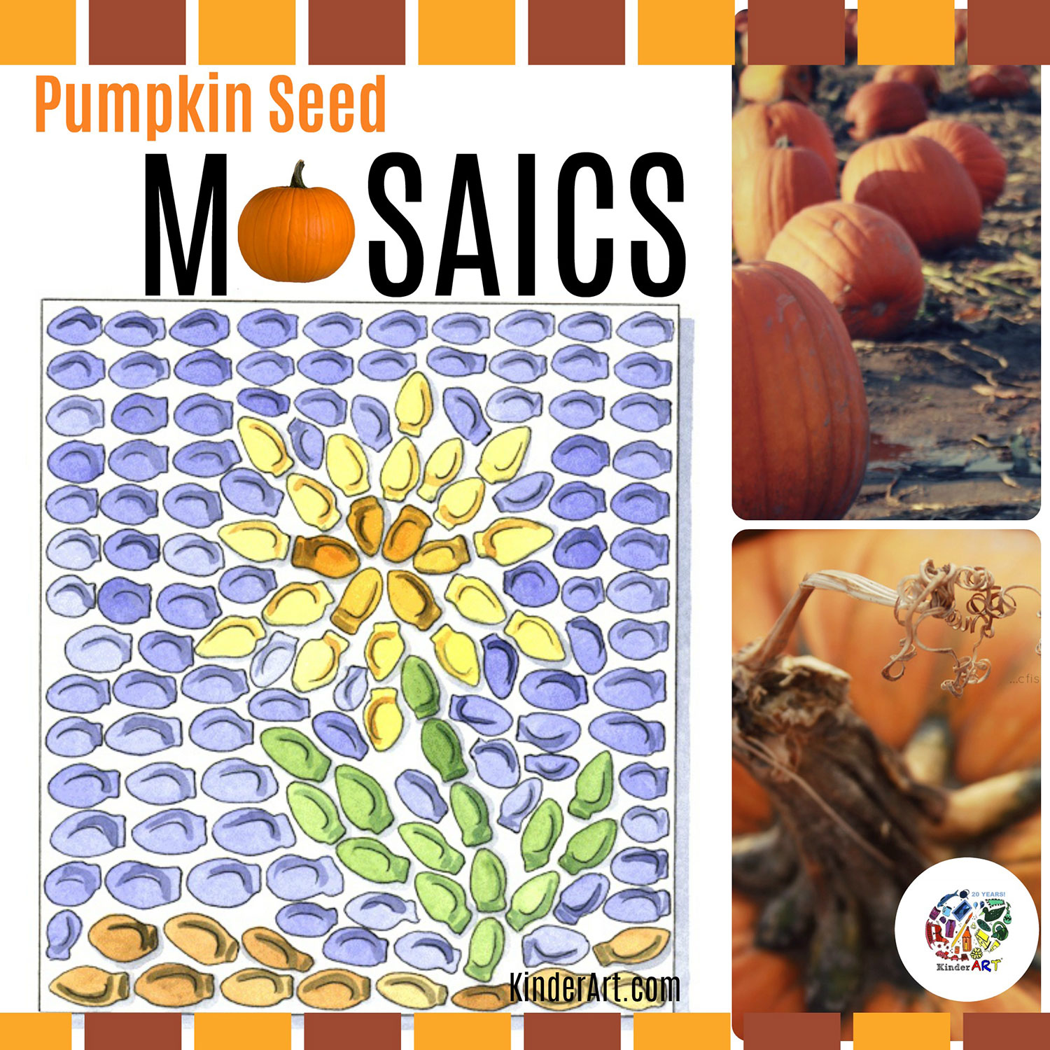 Pumpkin Seed Mosaics Lesson from KinderArt.com