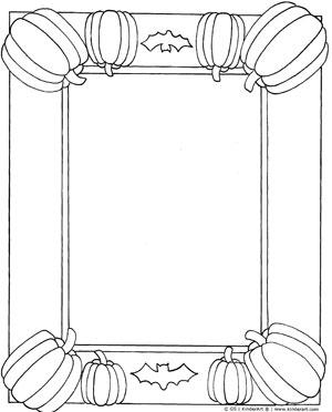 pumpkin frame coloring page kinderart