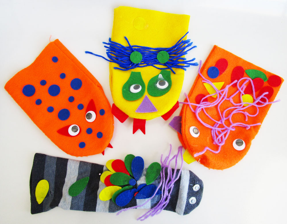 Make puppets. KinderArt.com.