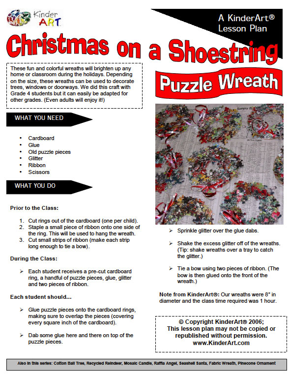 Puzzle Wreath for Christmas - Monthly Seasonal Crafts