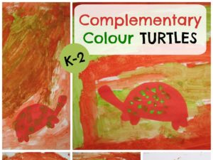 Complementary Color Turtles Lesson Plan for K-2. KinderArt.com