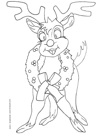 Cartoon Reindeer With A Wreath Coloring Page Printable