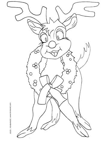 Reindeer coloring page. KinderArt.com
