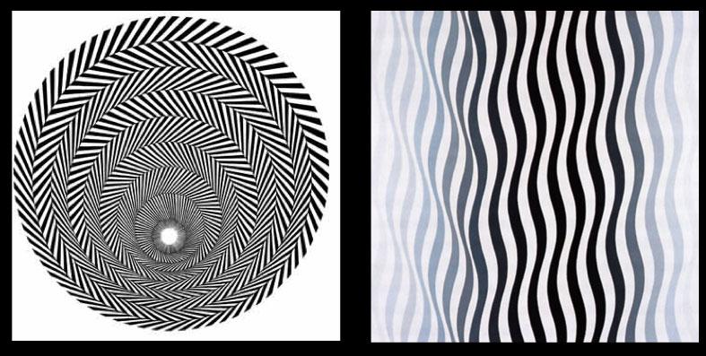 Examples of Bridget Riley's Op Art.