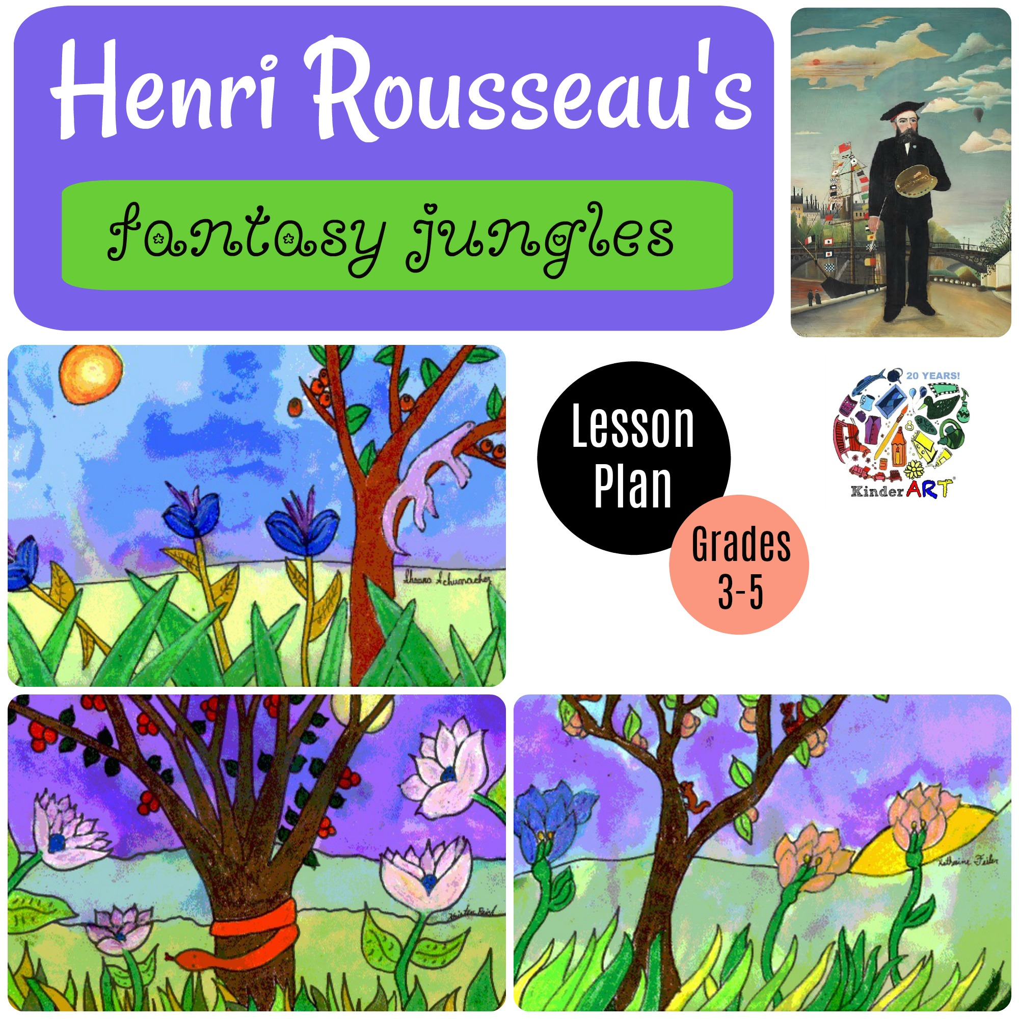 Henri Rousseau's Fantasty Jungles. Art lesson plan from KinderArt.com