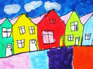Colorful Row Houses How To Draw And Paint