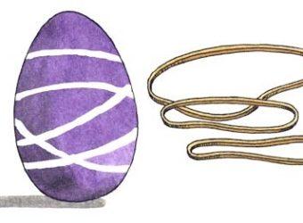 Rubber band eggs for Easter. KinderArt.com